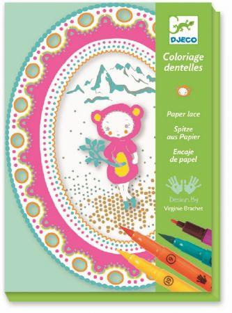 Coloriage dentelles petite ourse djeco dj09530 jeux - Djeco coloriage ...
